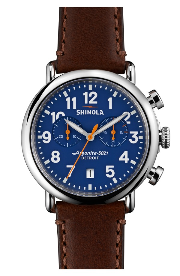 Shinola 'The Runwell Chrono' Leather Strap Watch