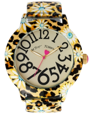 Betsey Johnson Women's Leopard Daisy-Printed Watch