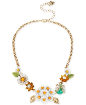 Betsey Johnson Gold-Tone Daisy and Critter Frontal Necklace
