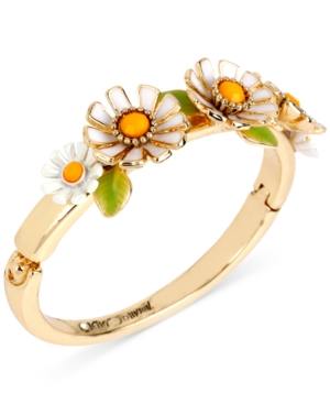 Betsey Johnson Gold-Tone Daisy Hinged Bangle Bracelet