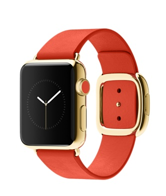 Apple Watch 18-K Yellow Gold Bright Red Modern Buckle