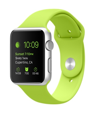Apple Watch Silver Aluminum Case Green Sports Band