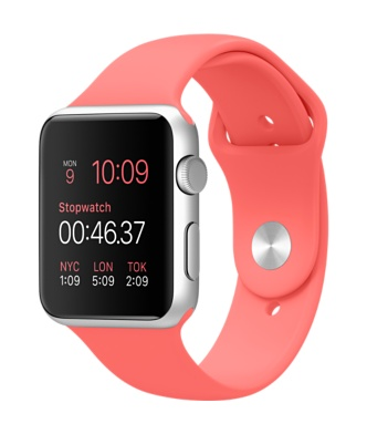 Apple Watch Silver Aluminum Case Pink Sports Band