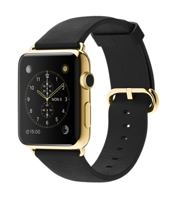 Apple Watch 18-K Yellow Gold Black Classic Buckle