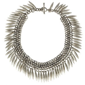 All Saints Antique Silver Spike Necklace