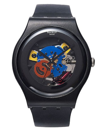 Black Exposed Cog Watch by Swatch