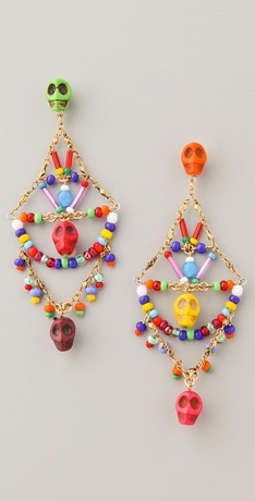 Erickson Beamon Skull Bead Earrings