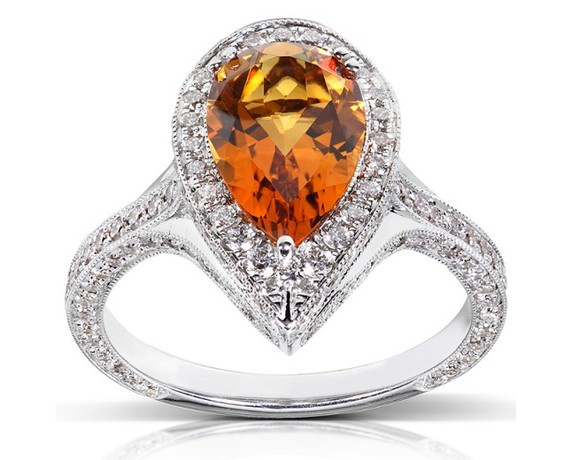 Kobelli Citrine and Diamond Engagement Ring