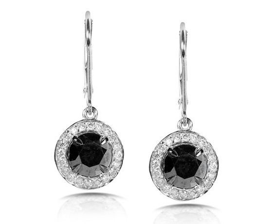 Kobelli Black and White Round Diamond Earrings