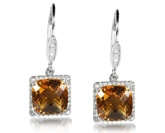 Kobelli Gold Citrine and Diamond Earrings