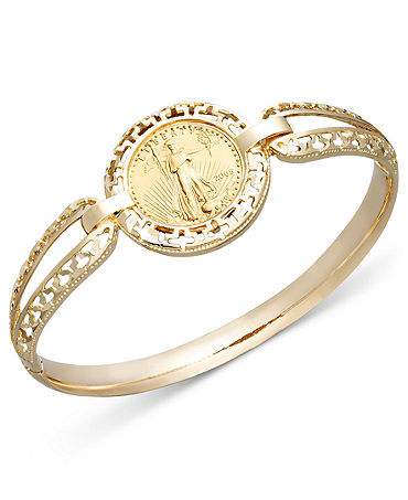 14K Gold Coin Bangle