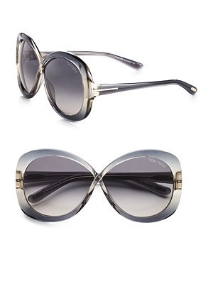 Tom Ford Eyewear Margot Acetate Crossover Butterfly Sunglasses