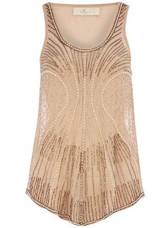 Dorothy Perkins Nude Beaded Embellished Vest