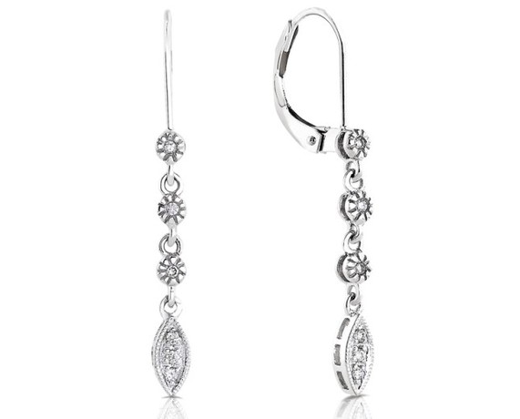 Kobelli Diamond Dangle Leaf Earrings