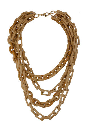 Wallis UK Beige Multi Row Link Necklace