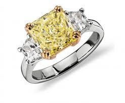 Fancy Yellow Three-Stone Diamond Ring