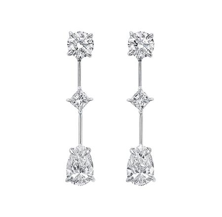Harry Winston Cascading Earrings, 3 Stone