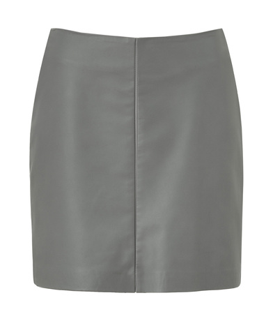 Cacharel Stone Grey Leather Skirt