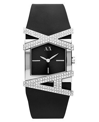 AX Armani Exchange Black Silicone Watch