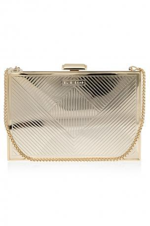 Elie Saab Gold Metallic Box Clutch Bag