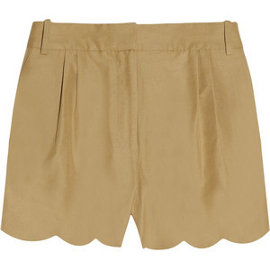 J Crew Scalloped cotton and silk-blend shorts