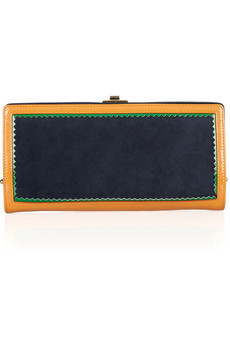 Jason Wu Jourdan suede and patent-leather clutch