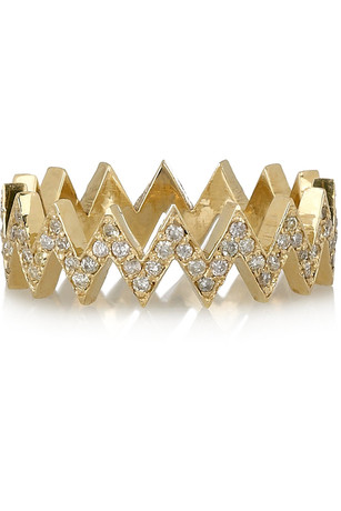 Jennifer Meyer 18-karat Gold Diamond Zigzag Ring