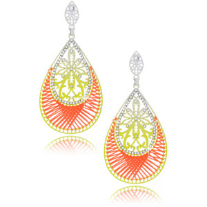 LK DESIGNS Neon Passion Silver Lime Earrings