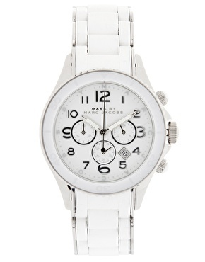 Marc By Marc Jacobs White And Silver Oversized Chronograph Bracelet Watch