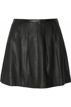 Rebecca Taylor Pleated Leather Mini Skirt