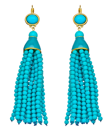 Kenneth Jay Lane's Turquoise Beaded Tassel Earrings