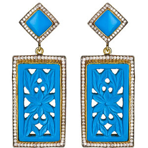 Turquoise Resin Carved Rectangle Drop Earrings
