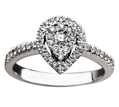 Diamond Pear Shaped Floral Cluster Ring