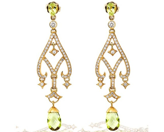 Kobelli Diamond and Lemon Quartz Earrings