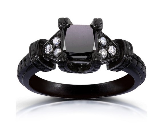 Kobelli Black and White Diamond Ring