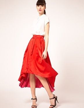 Preen Line Amber Skirt Asymmetric Silk and Jersey Panels
