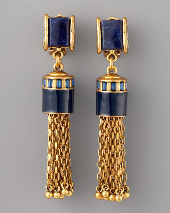 Oscar De La Renta Sodalite Tassel Earrings