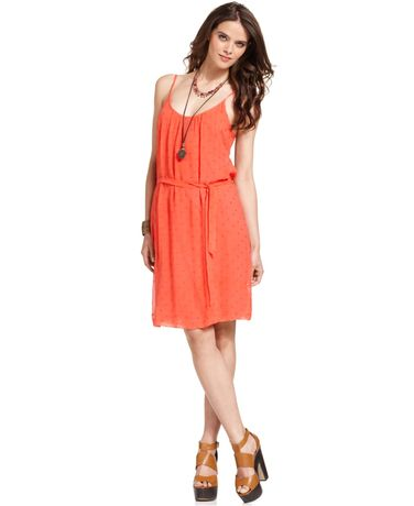 Lucky Brand Sleevless Coral Belted Dress