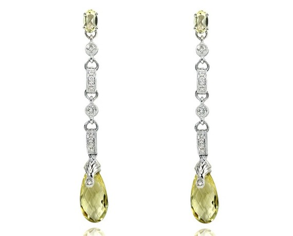 Kobelli Lemon Quartz and Diamond Earrings