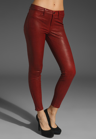 J Brand Denim Oxblood Red Leather Leggings
