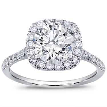 Adiamor French Cut Cushion Halo Engagement Ring