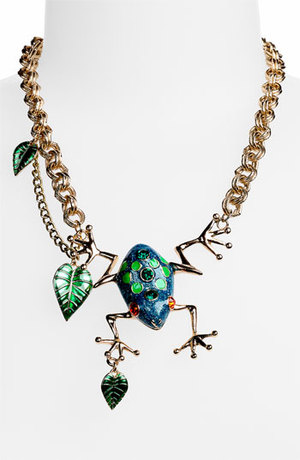 "Betsy Johnson ""Rio"" Frog and Leaf Statement Necklace"