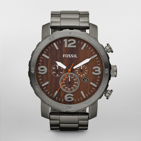 Stainless Steel and Wood Grain Face Watch by Fossil